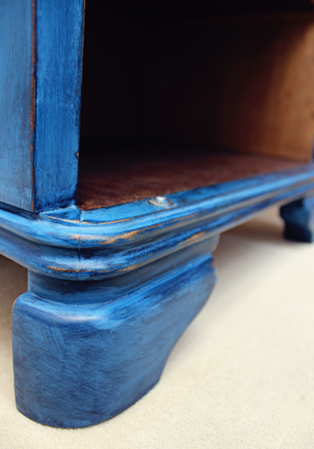 blue art deco night stand leg