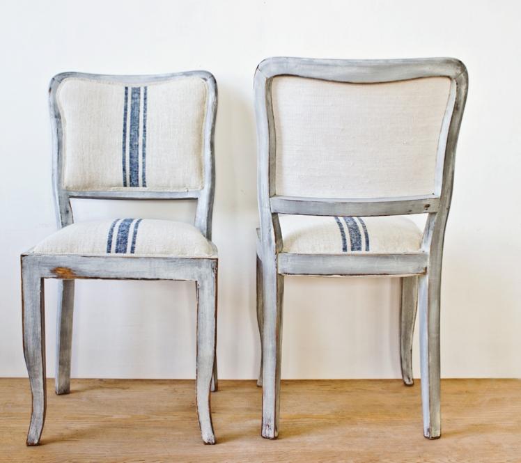 lenvászonnal kárpitozott székek - chairs upholstered with vintage linen